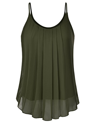 (EIMIN Women's Pleated Chiffon Layered Sleeveless Cami Tank Tunic Top Olive S)