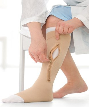 Jobst UlcerCARE Therapeutic Stockings-Right Side Zipper-4XL-Beige - BEIGE - 4XL by Jobst