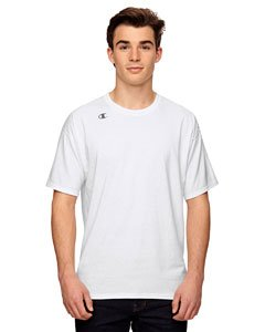 Champion Men's Double Dry Cotton Short Sleeve Tee, White, Small -
