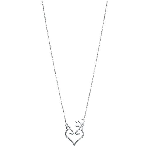Browning Silver Buck Heart Necklace