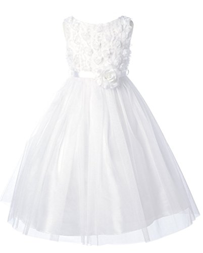 esh Flower Bodice Flower Girl Dress for Little Girl White 10 ()