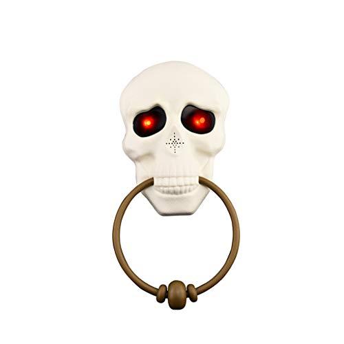 Fan-Ling 2PCS Halloween Skull Doorbell, New Festival Costume Props Scene Layout Horror Atmosphere Doorbell,Halloween Party Decoration, Easy Suspension