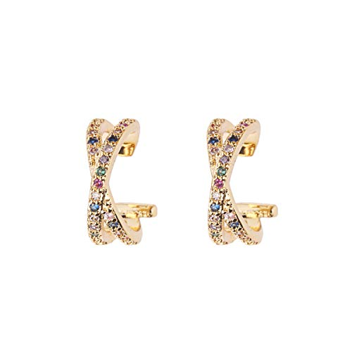 18K Gold Plated Ear Cuff Earrings for Women - Multicolor CZ Pave Clip On Hoop Earrings Design for Ladies and Girls,Sparkle Non Pierced Fake Earrings for Teengirls ()