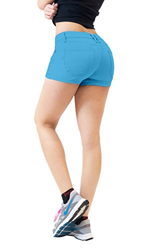 HyBrid & Company Womens Butt Lifting Twill Denim Shorts-SH43308-SKY Blue-9