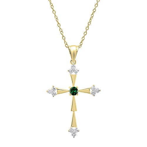 Dazzlingrock Collection 18K Round Lab Created Emerald & Diamond Cross Pendant (Gold Chain Included), Yellow Gold