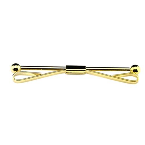 Voberry 1pc Mens Necktie Tie Clip Cravat Pin with Chain Brooch 04 (Gold)