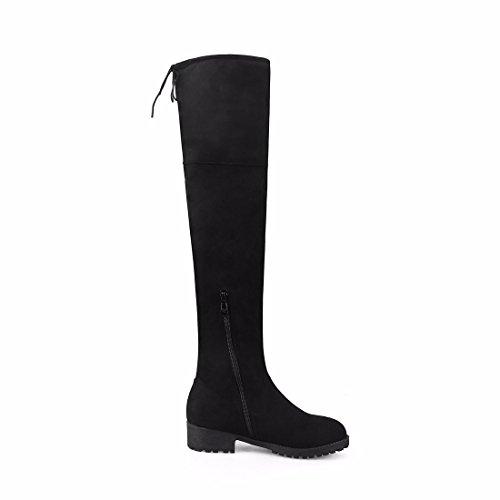 de costura de Black Señoras rodilla invierno altas estirada tamaño Terry botas pierna atrás botas suede botas TTxw7gP