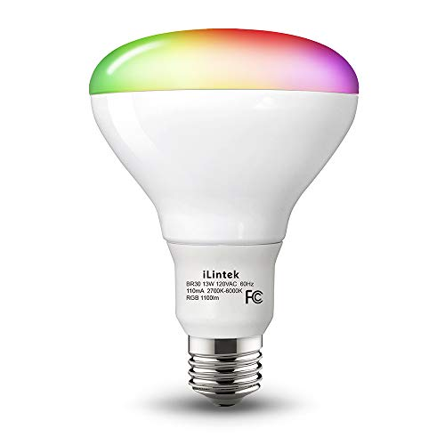 iLintek Bluetooth BR30 White and Color Smart LED Light Bulb, Multicolor Dimmable Wake Up Night Light Bulbs, App Controlled(Support Remote Control), 13W(85W Equivalent), 1100lm, No Hub Required
