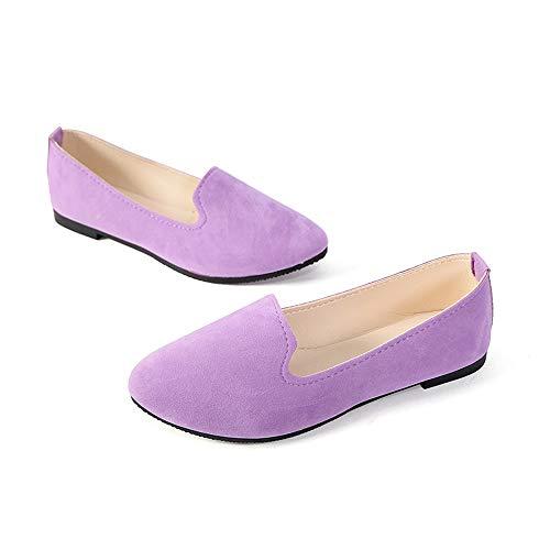 (Stunner Women's Cute Round-Toe Flat Ballet Shoes Comfortable Dress Shoes Light Purple 41(8.5))