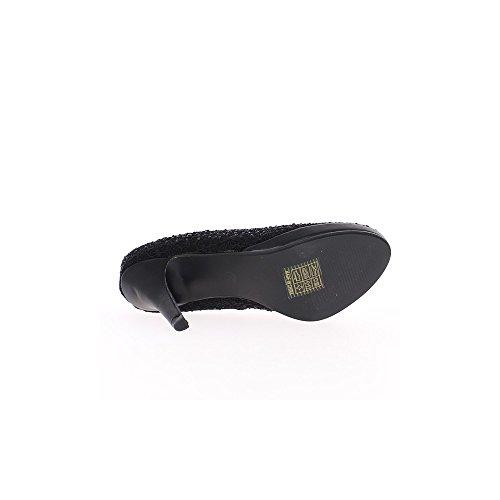 Escarpins femme noirs talons 9,5cm satinés et strass avec plateforme