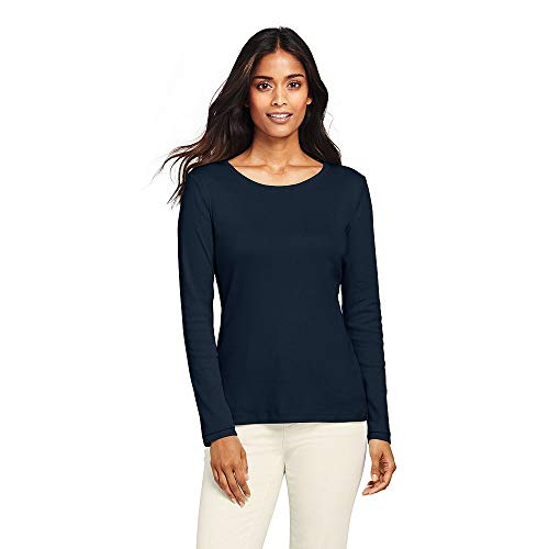 Lands End Womens All Cotton Long Sleeve T-Shirt - Rib Knit Crewneck, L, Radiant Navy