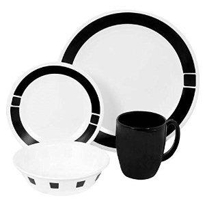Premium Corelle Livingware 16 piece Dinnerware Set Service for 4 Urban Black
