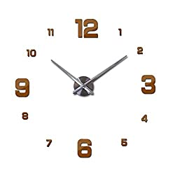 Large Wall Clock Watch 3D Wall Clocks De Pared Home Decoration 3D Wall Stickers Special Living Room Home Decoration Accessories,Chocolate,37Inch