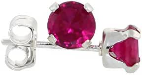 Sterling Silver Cubic Zirconia Ruby Earrings Studs 4 mm Red Color 1/2 carat/pair