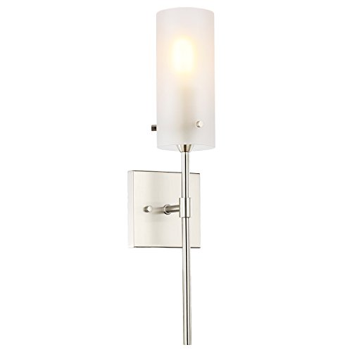 Fixture Contemporary (Light Society Montreal Cylindrical Wall Sconce, Satin Nickel with Frosted Glass Shade, Contemporary Minimalist Modern Lighting Fixture (LS-W238-SN-FR))