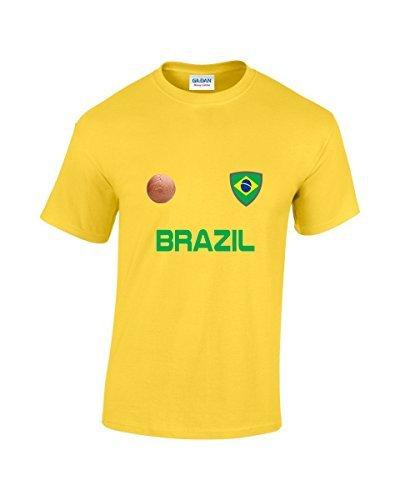 EBUK Brasil Copa Mundial 2018 Fútbol Retro Informales Camiseta Hombre No Oficial - Amarillo, Small