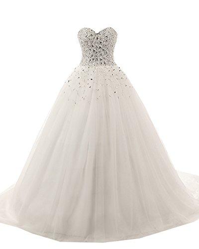 Kimbridal Sweetheart Beaded Corset Bodice Tulle Wedding D...