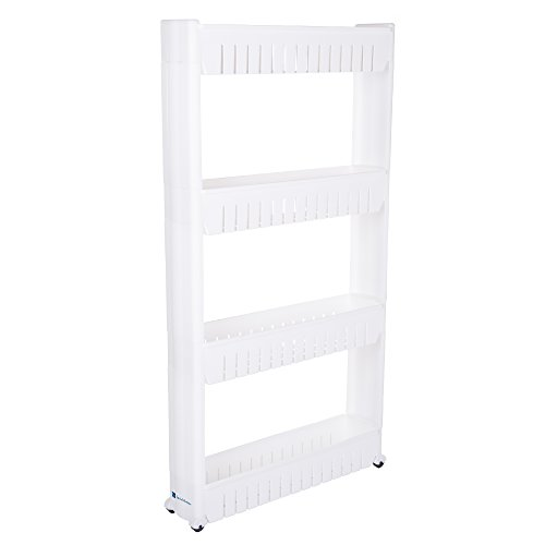 Mobile Shelving Unit Organizer with 4 Large Storage Baskets, Slim Slide Out Pantry Storage Rack for Narrow Spaces by Everyday Home Four Unit