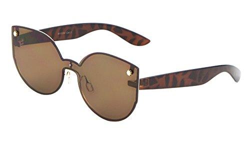 Womens Fashion Cat Eye Sunglasses Rimless Mono Block One Piece Lens (Tortoise, - Eye Kardashian Cat Sunglasses