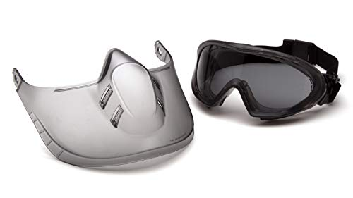 Pyramex Capstone Direct/Indirect Safety Goggle with Face Shield, Gray Frame/Gray H2X Anti-Fog Lens