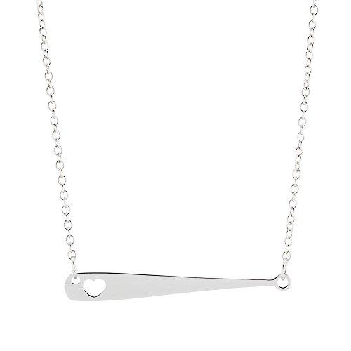 Baseball Bat Necklace - Baseball or Softball Jewelry Gift - For Mom Softball Fan Girl Woman Silver