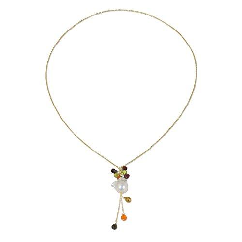NOVICA Multi-Gem Cultured Freshwater Pearl 18k Gold Plated .925 Silver Necklace 'Gemstone Chandelier'