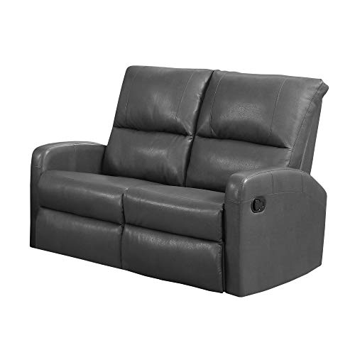 Monarch Specialties I 84GY-2 Reclining Loveseat in Charcoal Grey Bonded Leather