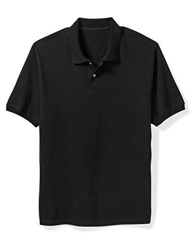 Amazon Essentials Men's Big and Tall Cotton Pique Polo Shirt fit by DXL, Black, 6XLT
