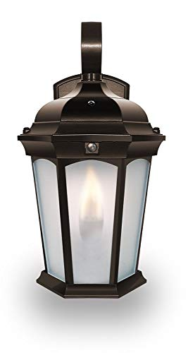 - Euri Lighting EFL-130F-MD Flickering Flame Lantern, Frosted Glass, with Integrated Security Light (3000K), Photocell and Motion-Sensor (Dusk-to-Dawn), Oil Rubbed Bronze Housing
