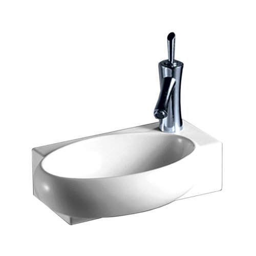 Whitehaus WHKN1136 WHKN1136Isabella Rectangular Wall Mount Basin with Integrated Oval Bowl & Right Offset single Faucet Hole, White