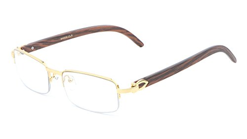 Debonair Slim Half Rim Rectangular Metal & Wood Eyeglasses / Clear Lens Sunglasses - Frames (Gold & Cherry Wood, - Men Frames Designer