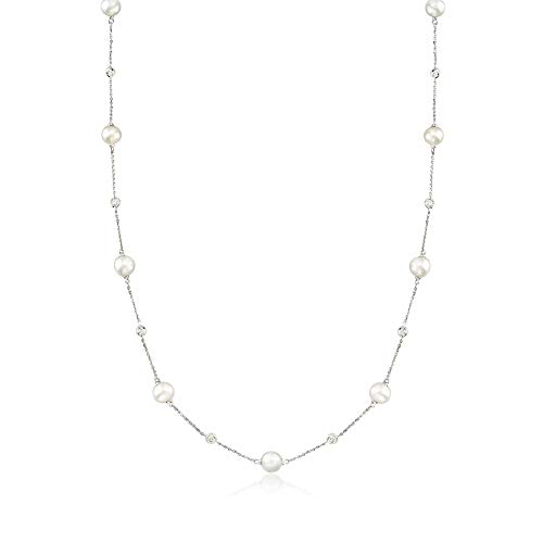 Ross-Simons 6-7mm Cultured Pearl and .30 ct. t.w. Diamond Station Necklace in 14kt White Gold ()