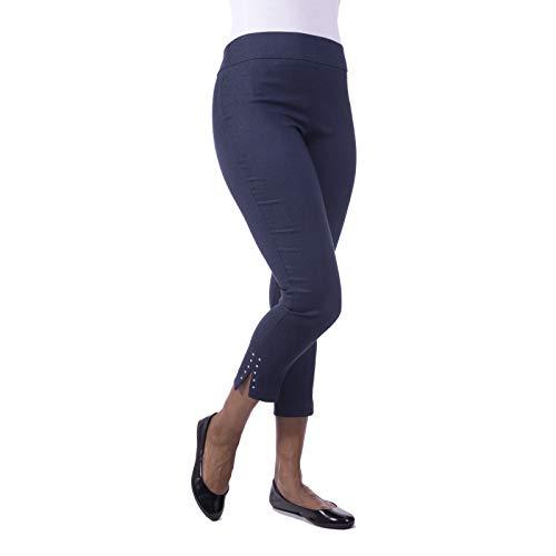 - Fundamental Things Women's Tummy Control, Rivet Detail Slim Leg Pull-On Pant Dark Denim   Size 16