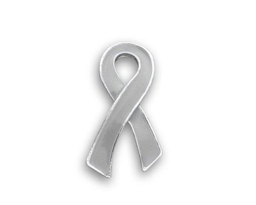 Brain Cancer Ribbon Pin - Large Flat (1 Pin - Retail) (Sterling Pin Silver Ribbon Awareness)