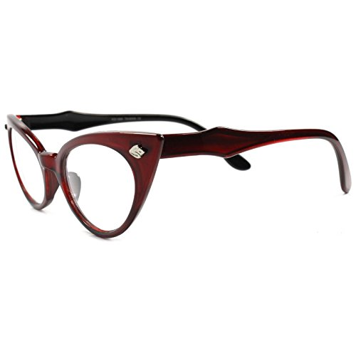 Classic Vintage Retro 70s Style Womens Maroon Frame Cat Eye Clear Lens - Style 70s Prescription Glasses