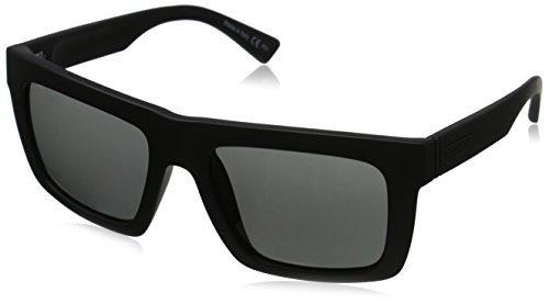 VonZipper Donmega Rectangular Sunglasses, Black Satin/Grey, 56 - Womens Sunglasses Vonzipper