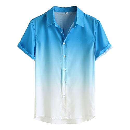 Men's Loose Shirt Breathable Short Sleeve Button Turn-Down Collar Gradient Blouse Tops (2XL, Blue)