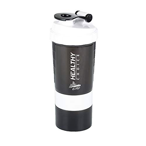 3 in 1 Protein Shaker Sport Fitness Gym Drinking Water Bottle, 500ml, 16oz, 316 Stainless Steel Mixing with Plastic Holder. 3 Compartment Pill Box with 200gr Protein Powder Container. (white)
