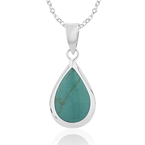 925 Sterling Silver Rimmed Blue Green Reconstructed Turquoise Pear Tear Drop Pendant Necklace, 18