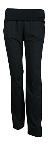 DKNY Pure Women's Roll-Over Casual Pants (S, Black) - Dkny Roll