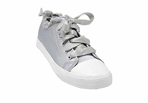 Tissu Denim Lacet Ruban Sneakers Bord Oh Baskets Tennis et Jean SHY58 Gris Effet avec My Déchiré Satiné Shop SaqOY