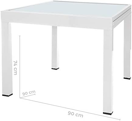 Mesa Extensible Blanca de Aluminio para terraza y Exterior Garden ...