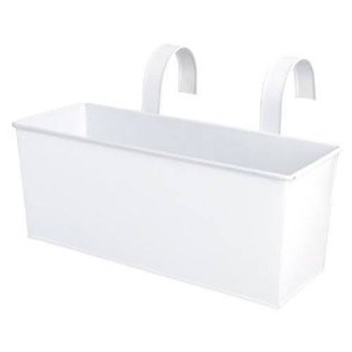 Esschert Design USA White Metal Rectangular Balcony Planter (RD24)