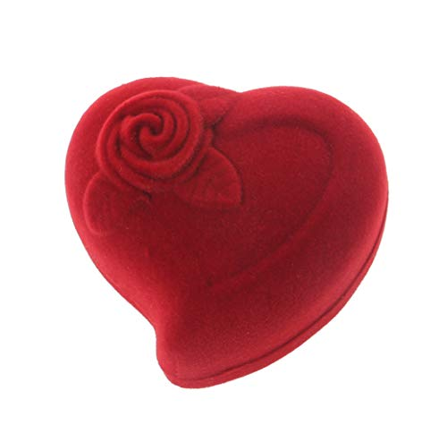 - Misright Rose Red Velvet Ring Box Heart Shaped Red Rose Pattern Love Ring Storage Display