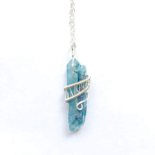 Aqua Aura Quartz Pendant - 20 inch Silver Wire Wrapped Blue Crystal Necklace - Gift for Him and Her, Beach Jewelry