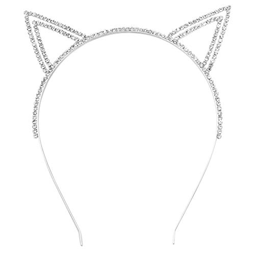 Rosemarie Collections Women's Sparkly Cat Ears Tiara Headband (Double Outline Cat Ears)