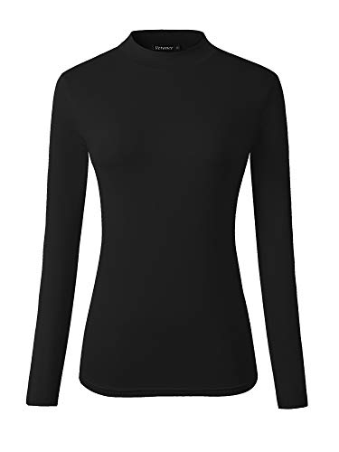 - Veranee Women's Long Sleeve Slim Fit Turtleneck Basic Layering T-Shirt X-Large Black