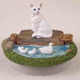 Conversation Concepts Miniature White Oriental Shorthaired Candle Topper Tiny One ''A Day on the Lake'' (Set of 6)