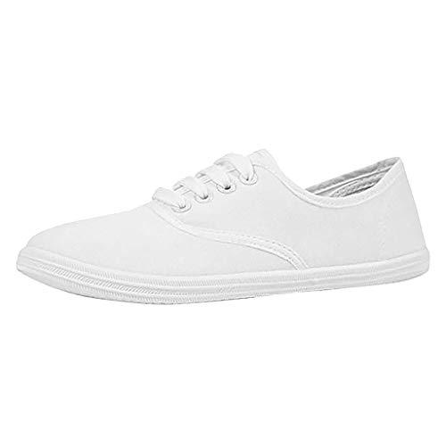 SUNyongsh Comfortable Casual Shoes Women Ladies Fashion Versatile Comfortable Canvas Flat Casual Shoes White ()