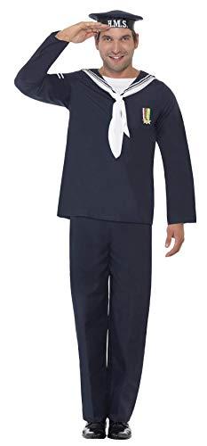 Smiffy's Smiffys-22129M Marinero de la Marina, Incluye Sombrero, Top y Pantalones, Color Azul, M – Tamaño 38″-40″ 22129M